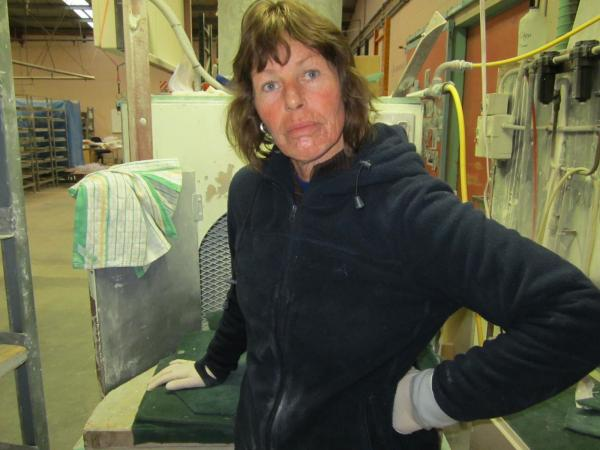 And Diane in pottery, not looking all that keen on the photography thing